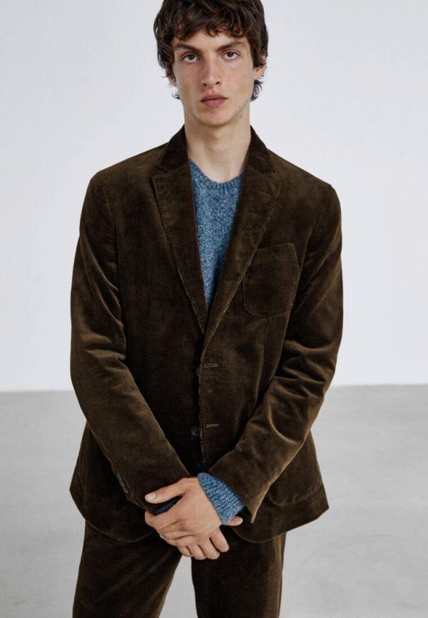 мужской пиджак massimo dutti, коричневый