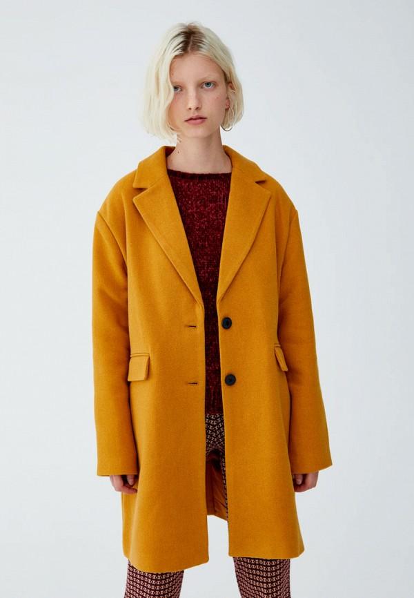 Купить Пальто Pull&Bear, ix001xw000zm, оранжевый, Осень-зима 2018/2019