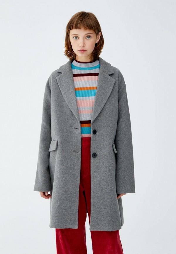 Пальто Pull&Bear, ix001xw0016e, серый, Осень-зима 2018/2019  - купить со скидкой