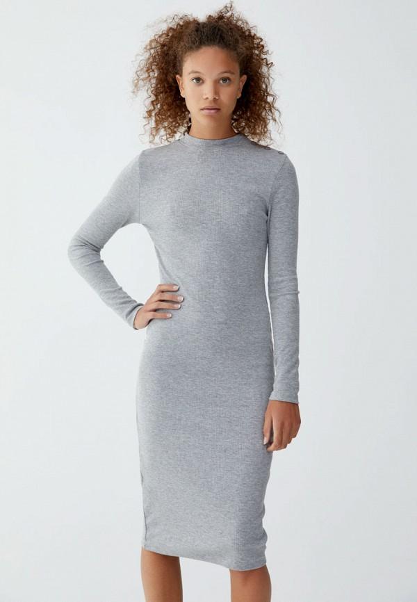 Купить Платье Pull&Bear, ix001xw001ug, серый, Осень-зима 2018/2019