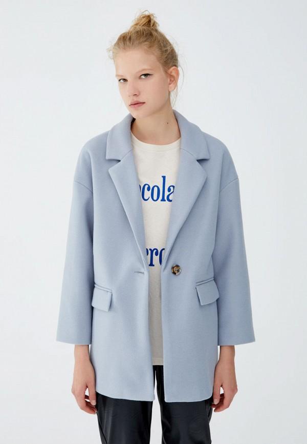 Купить Пальто Pull&Bear, ix001xw001xn, голубой, Осень-зима 2018/2019
