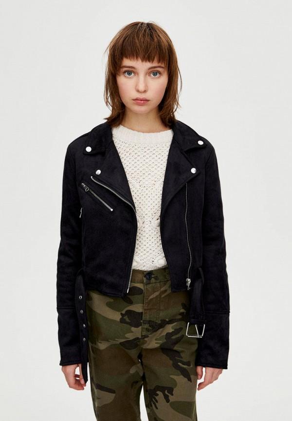 Фото - Куртку кожаная Pull&Bear черного цвета