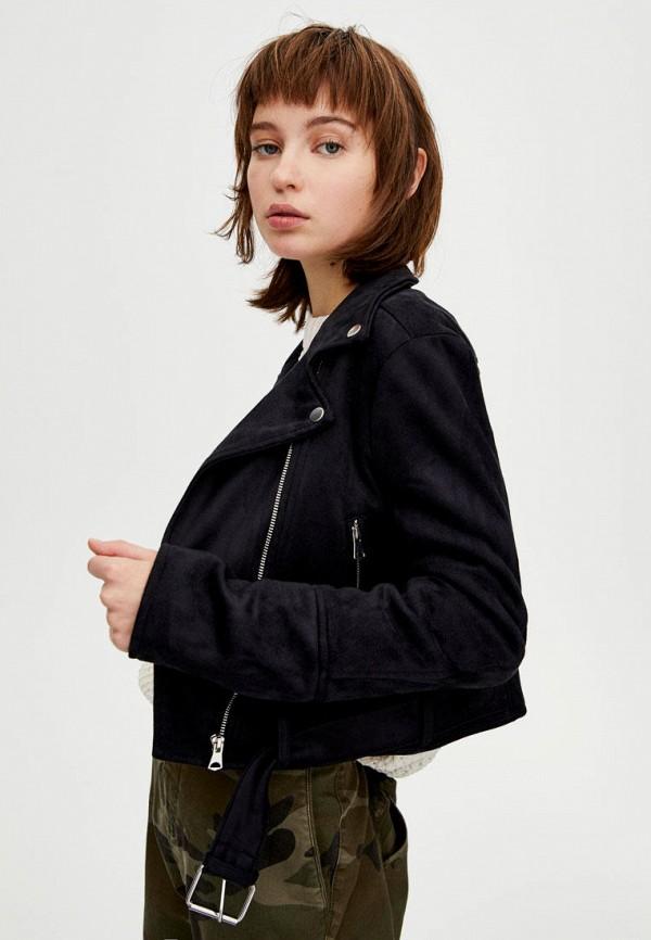 Фото 4 - Куртку кожаная Pull&Bear черного цвета