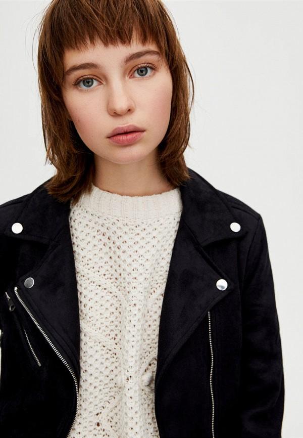Фото 5 - Куртку кожаная Pull&Bear черного цвета