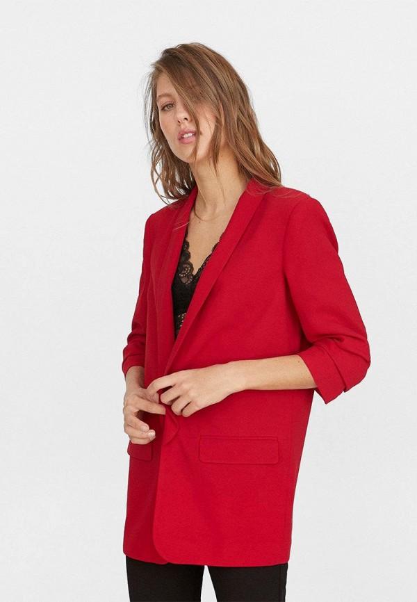 женский пиджак stradivarius, красный