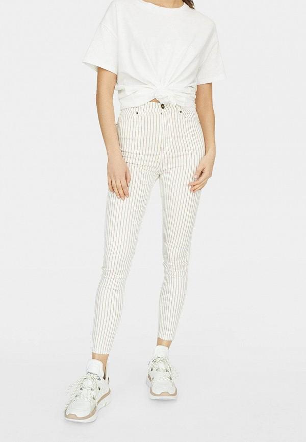 женские брюки stradivarius, белые