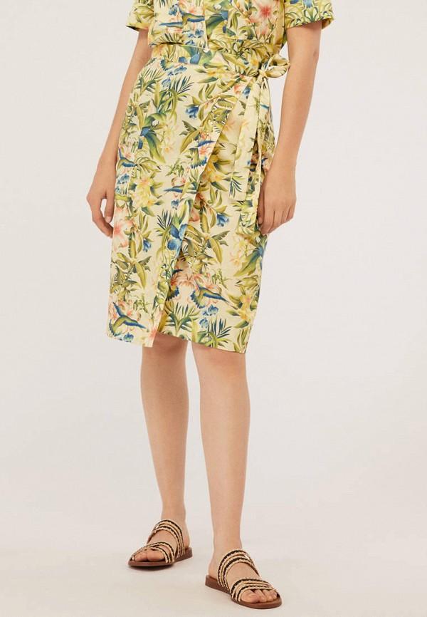 женская прямые юбка oysho, желтая