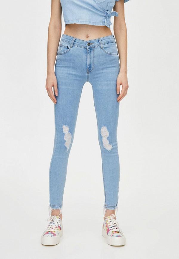 женские джинсы pull & bear, голубые
