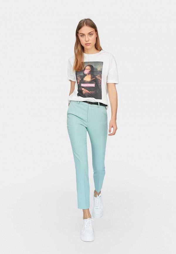 женские повседневные брюки stradivarius, бирюзовые