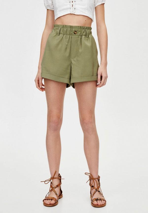женские шорты pull & bear, зеленые