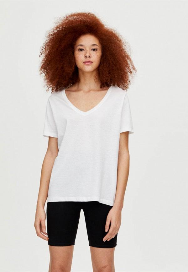 женская футболка pull & bear, белая