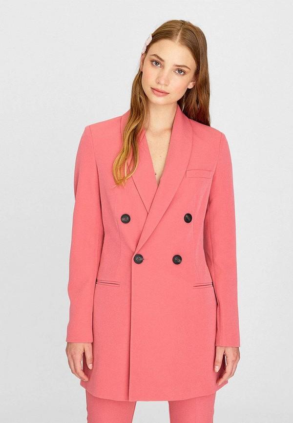 женский пиджак stradivarius, розовый