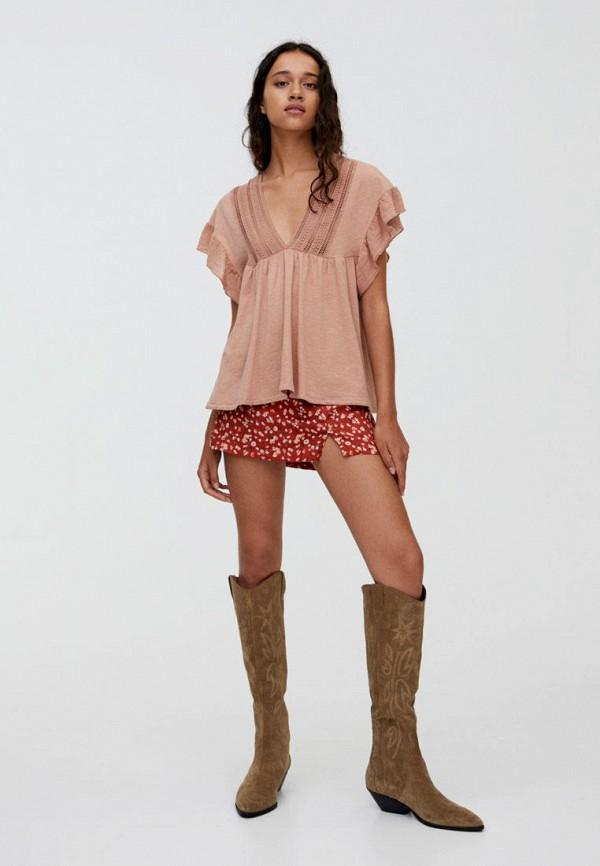 Фото 2 - Блузу Pull&Bear розового цвета