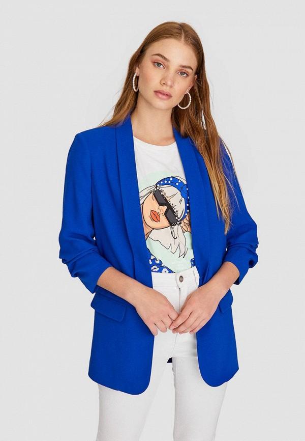 женский пиджак stradivarius, синий