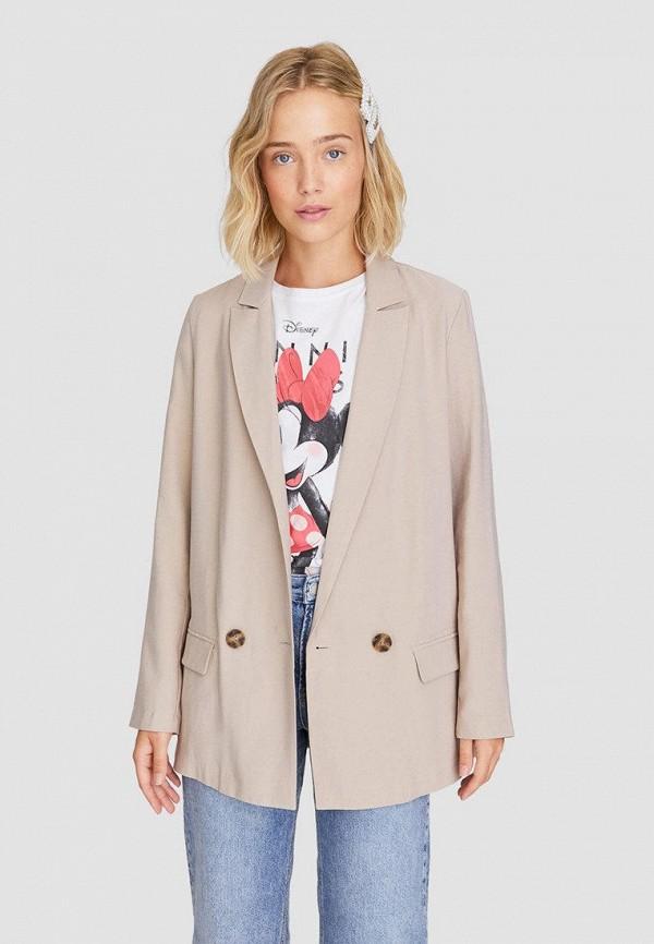 женский пиджак stradivarius, бежевый