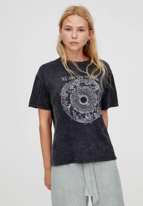 женская футболка pull & bear, серая