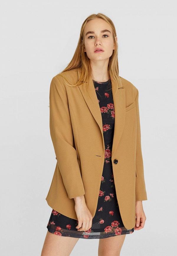 женский пиджак stradivarius, коричневый