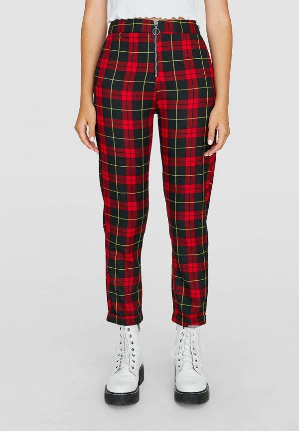 женские брюки stradivarius, красные