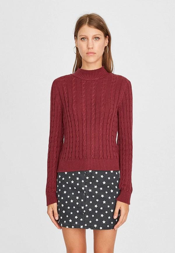 женский свитер stradivarius, бордовый