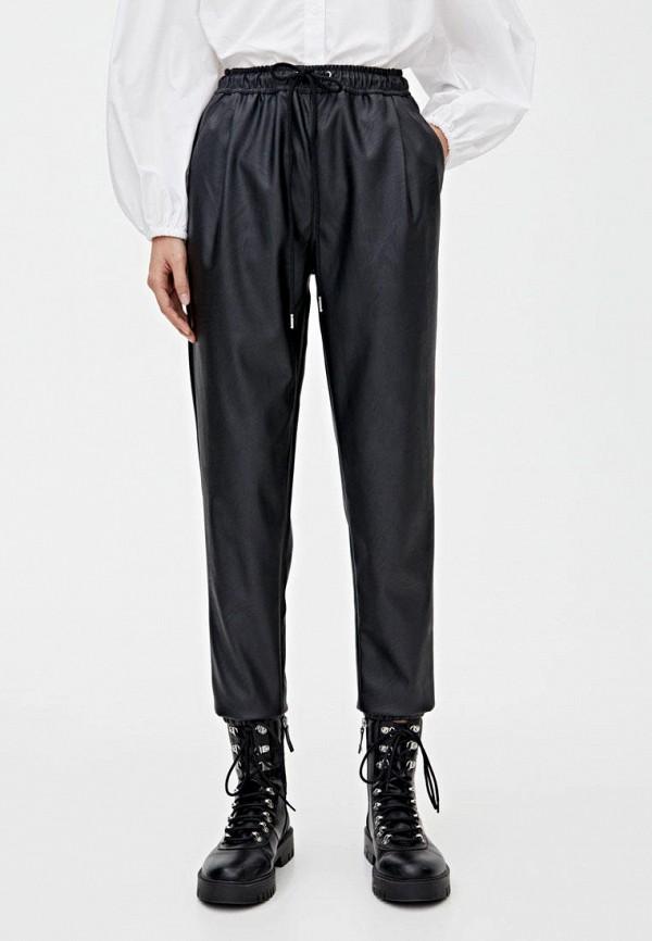 женские кожаные брюки pull & bear, черные