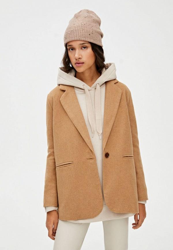 женский пиджак pull & bear, коричневый