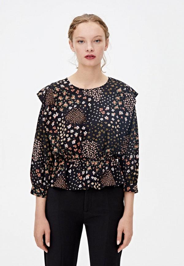 женская блузка с длинным рукавом pull & bear, черная