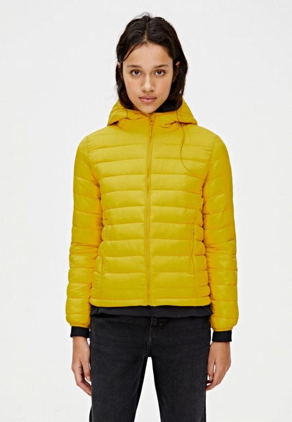женская утепленные куртка pull & bear, желтая