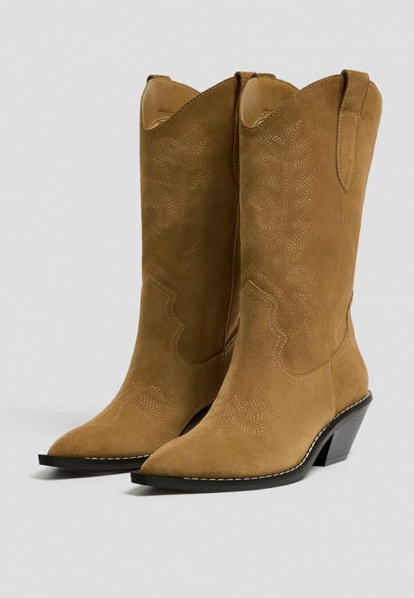 женские сапоги pull & bear, коричневые
