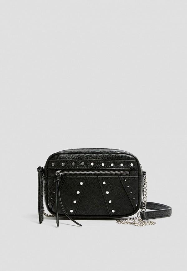 женская сумка через плечо pull & bear, черная
