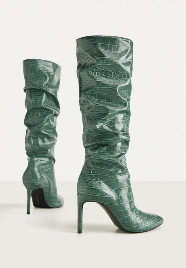 женские сапоги bershka, зеленые