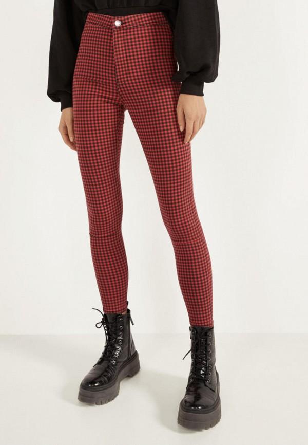 женские повседневные брюки bershka, красные
