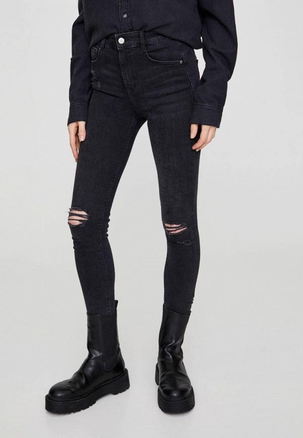 женские джинсы скинни pull & bear, черные