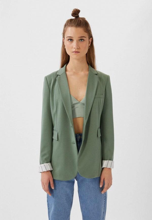 женский пиджак stradivarius, зеленый