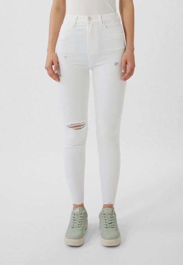женские джинсы скинни stradivarius, белые