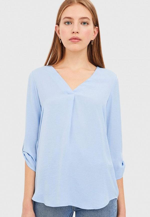 женская блузка с длинным рукавом stradivarius, голубая