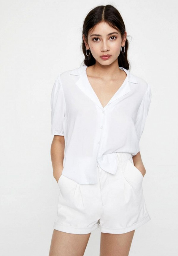 женская блузка с коротким рукавом pull & bear, белая