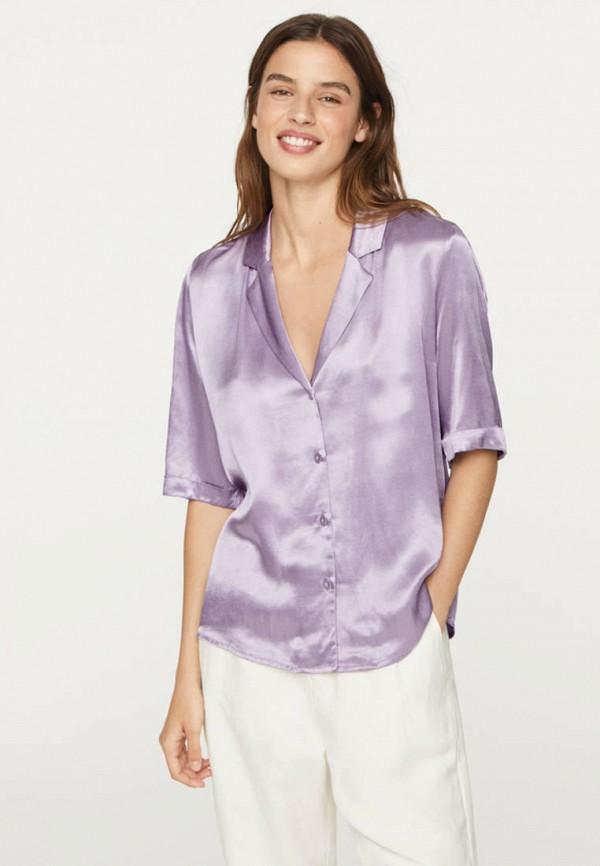 женская блузка с коротким рукавом oysho, фиолетовая