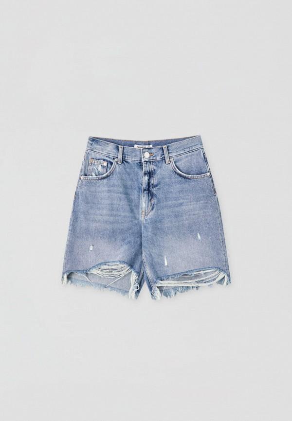 женские джинсовые шорты pull & bear, голубые