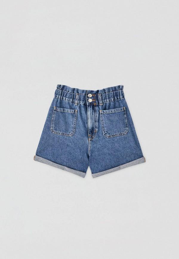 женские джинсовые шорты pull & bear, синие