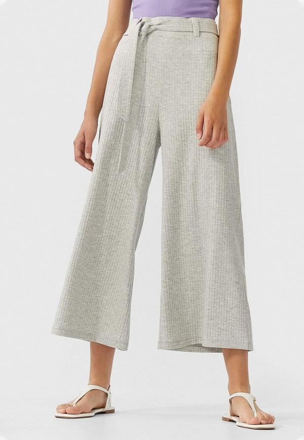 женские брюки кюлоты stradivarius, серые
