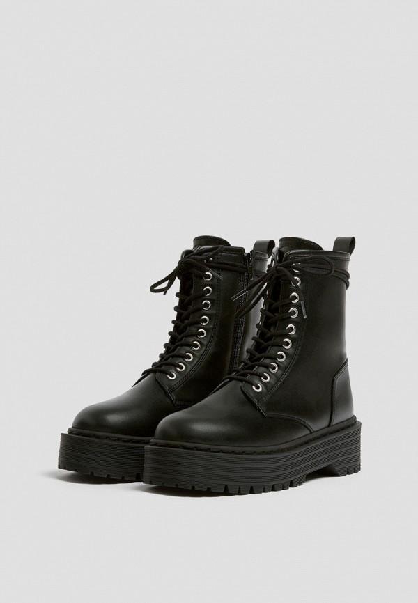 женские высокие ботинки pull & bear, черные