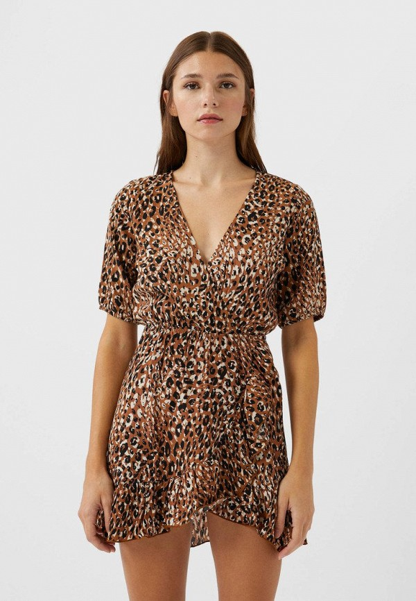 женское платье с запахом stradivarius, коричневое