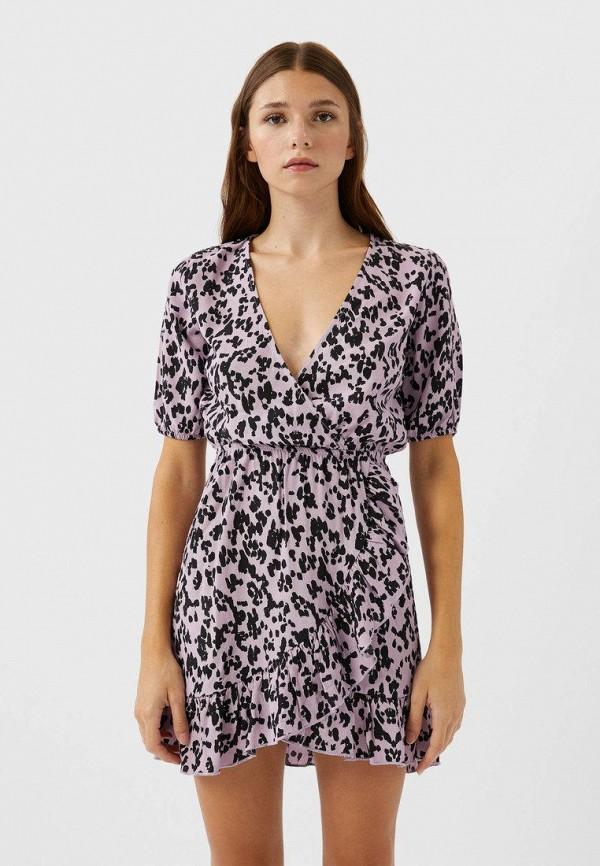 женское платье с запахом stradivarius, фиолетовое