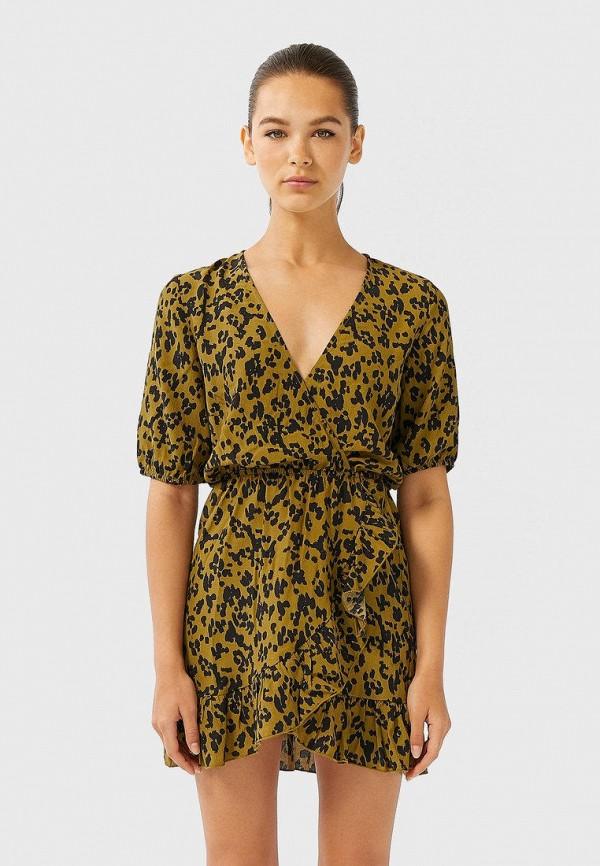 женское платье с запахом stradivarius, хаки