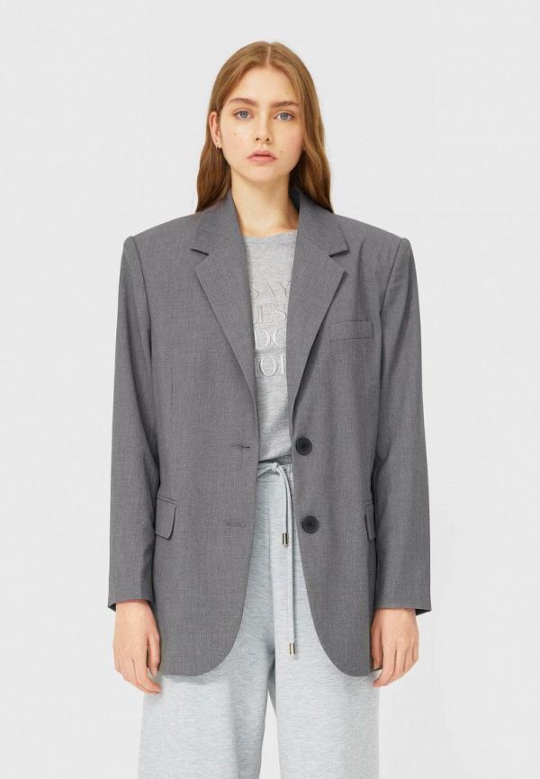 женский пиджак stradivarius, серый