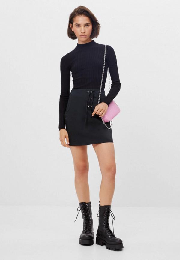 женская прямые юбка bershka, черная