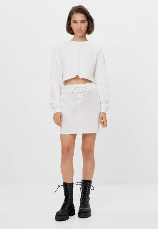 женская прямые юбка bershka, белая