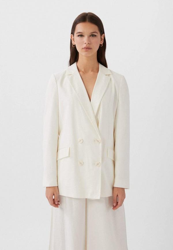 женский пиджак stradivarius, белый