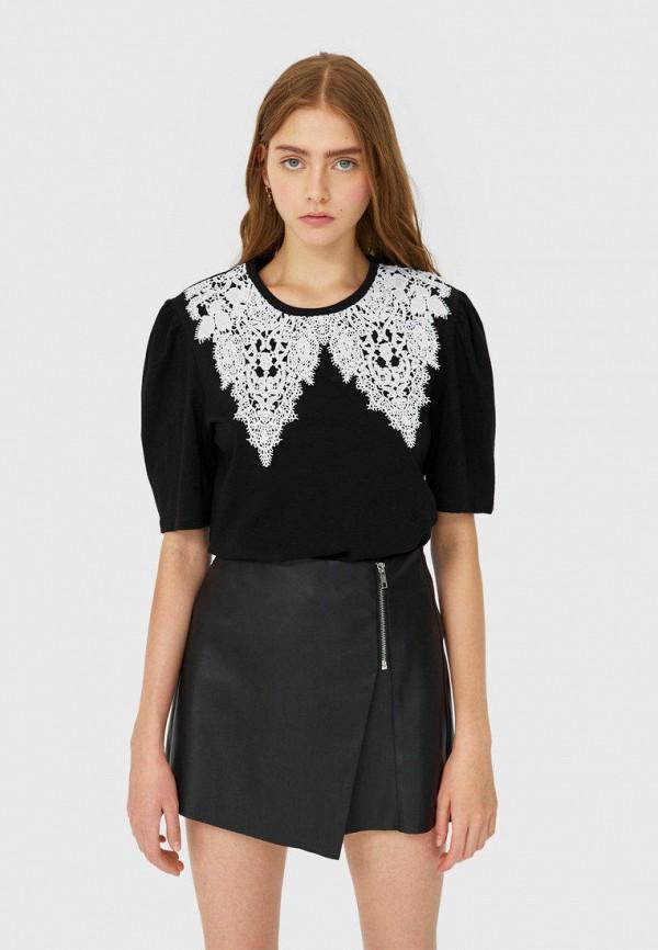 женская юбка stradivarius, черная