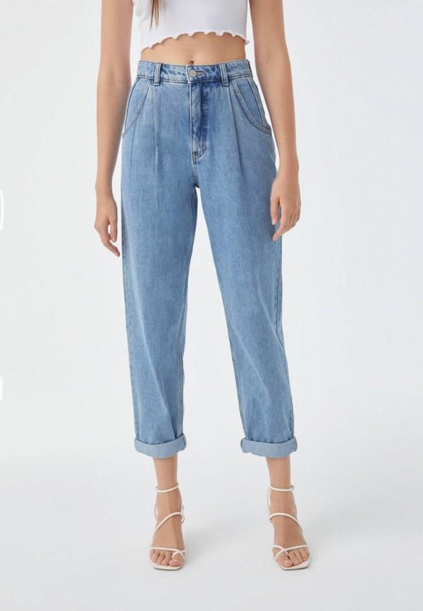 женские прямые джинсы pull & bear, синие